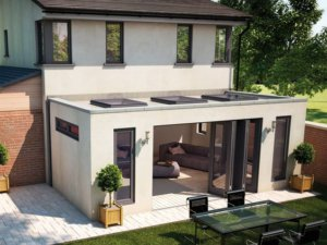 flat roof extension with parapet